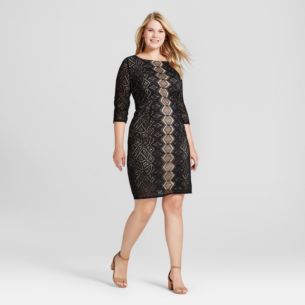 Womens Plus Size 3/4 Sleeve Lace Dress - Melonie T Black 20W
