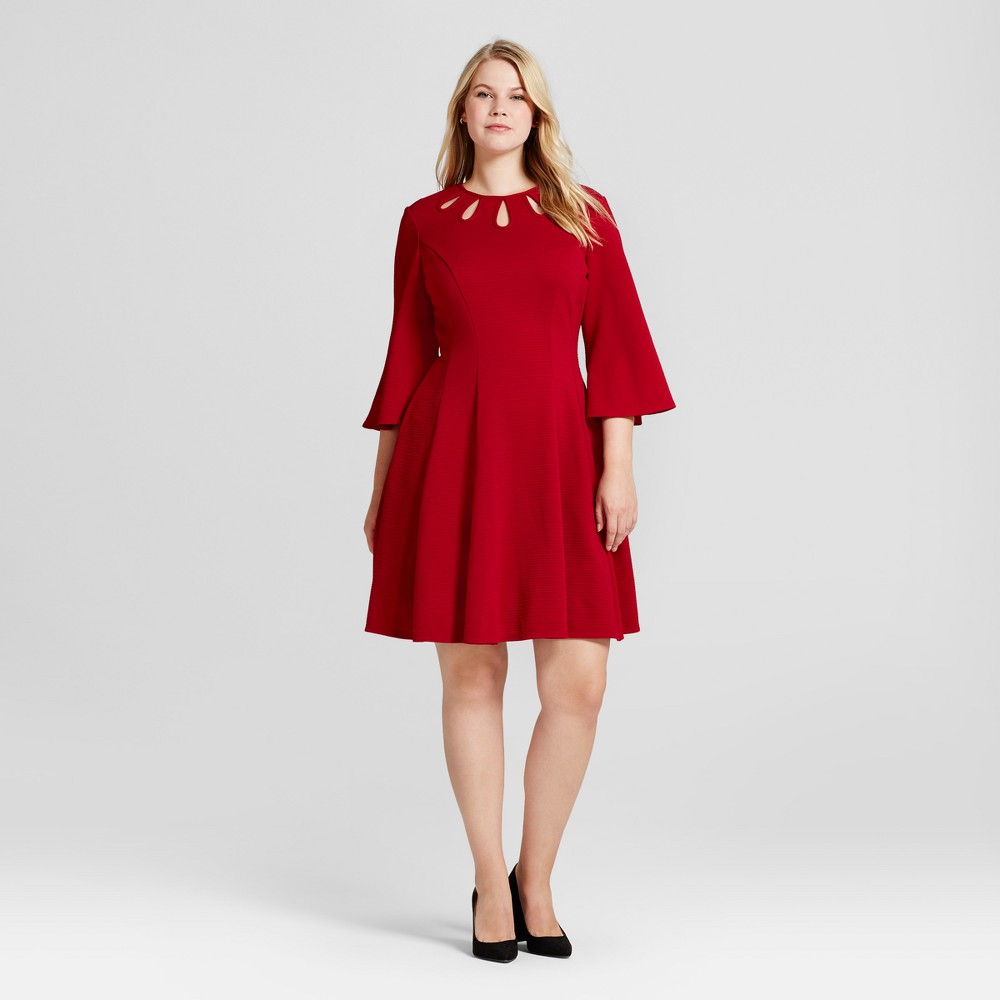 Womens Plus Size Bell-Sleeve Fit and Flare A Line Dress - Melonie T Red 24W