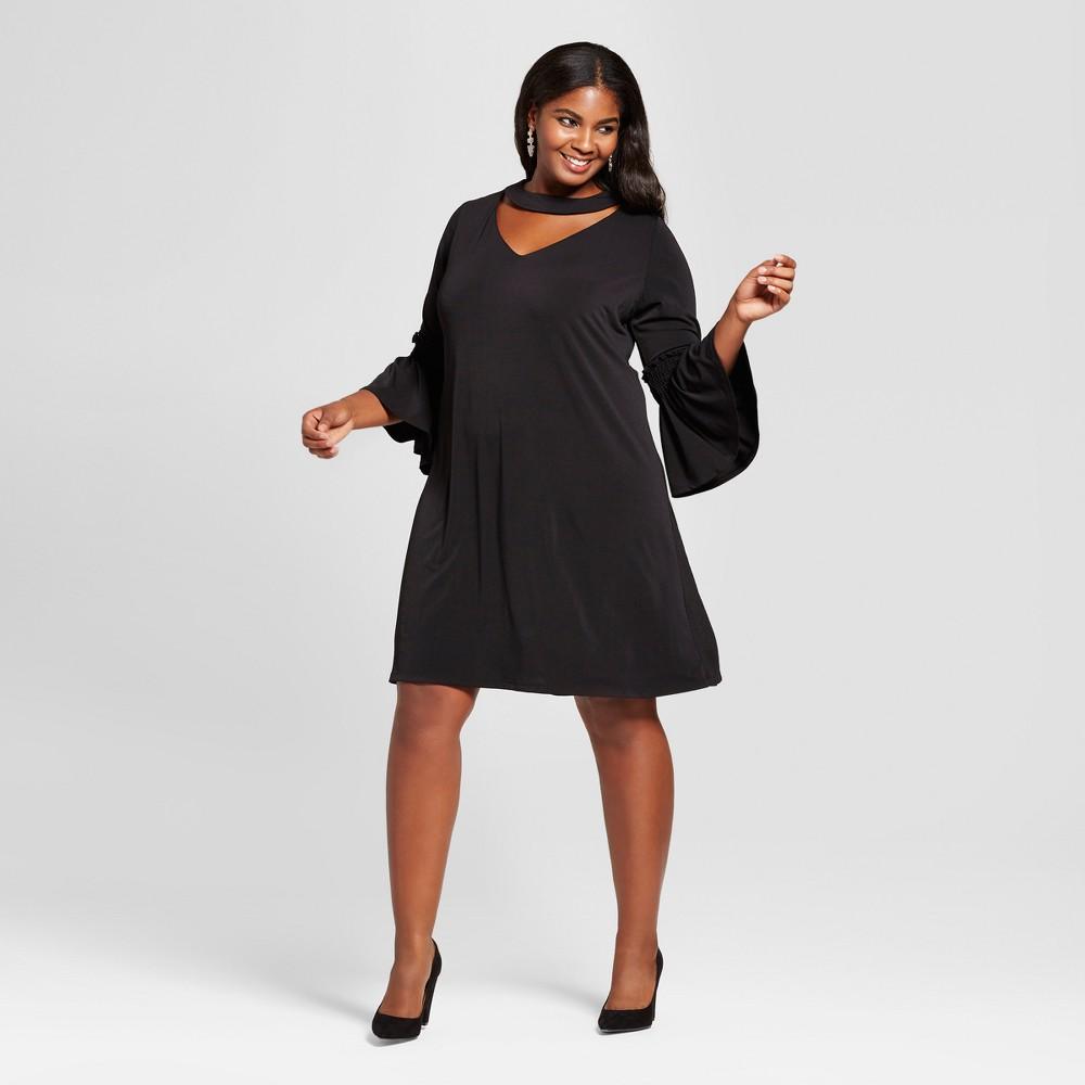 Womens Plus Size Choker Neckline A Line Dress - Melonie T Black 22W