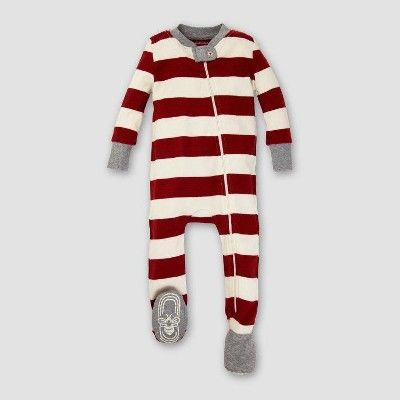 Burt's Bees Baby Organic Cotton Rugby Stripe Footed Sleeper - Cranberry 3-6M