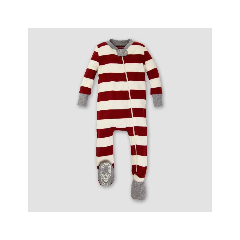 Burts Bees Baby Organic Cotton Rugby Stripe Footed Sleeper - Cranberry NB, Infant Unisex, Pink