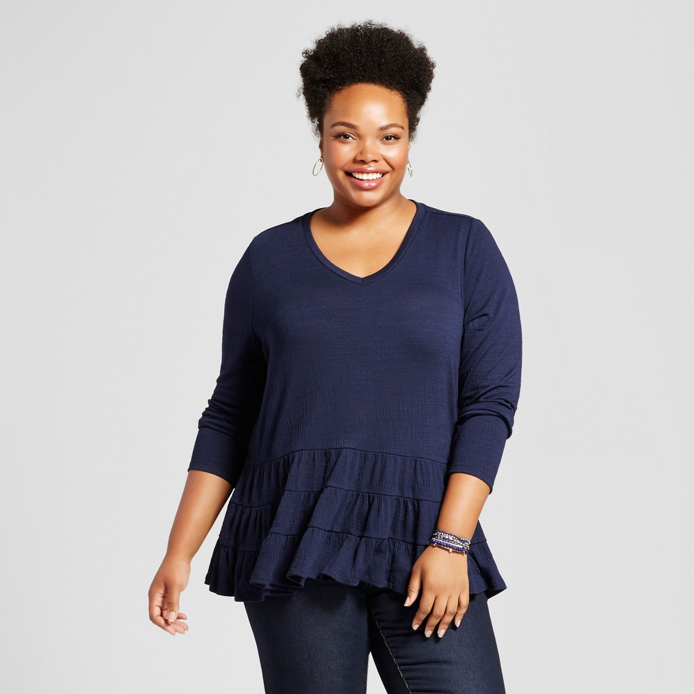 Womens Plus Size Ruffled Hem Blouse - JohnPaulRichard Blue 2X