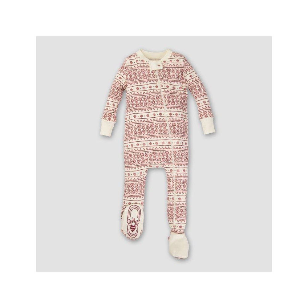 Burts Bees Baby Organic Cotton Fair Isle Footed Sleeper - Ivory NB, Infant Unisex, White