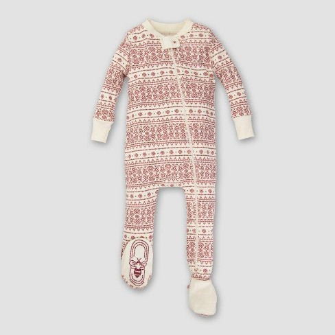 Burt's Bees Baby Organic Cotton Fair Isle Footed Sleeper - Ivory NB - image 1 of 2