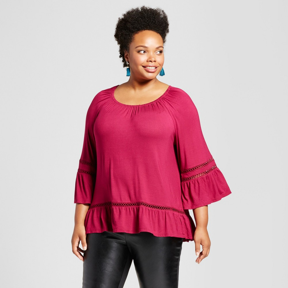 Womens Plus Size Floral Bell-Sleeve Blouse - JohnPaulRichard Red 1X, Pink