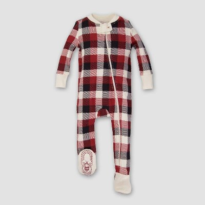Burt's Bees Baby® Organic Cotton Buffalo Plaid Footed Sleeper - Cranberry NB