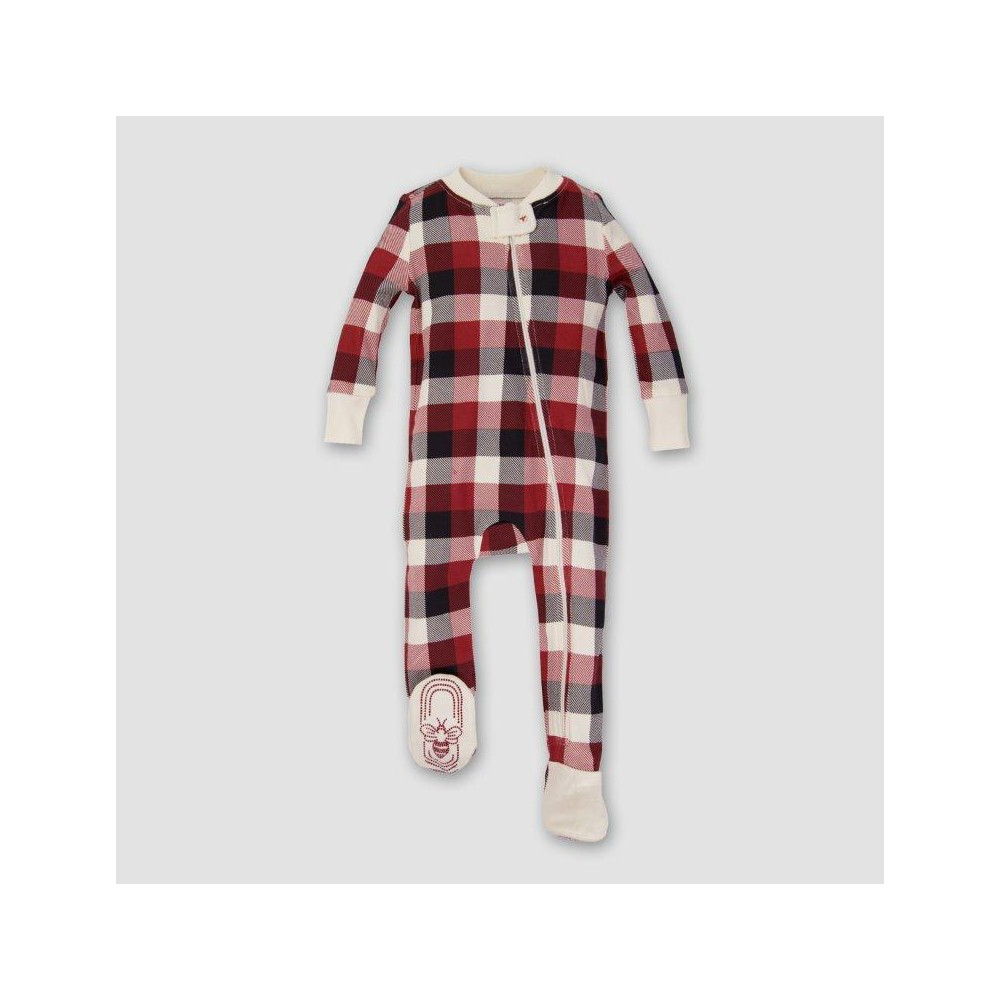 Burts Bees Baby Organic Cotton Buffalo Plaid Footed Sleeper - Cranberry NB, Infant Unisex, Pink