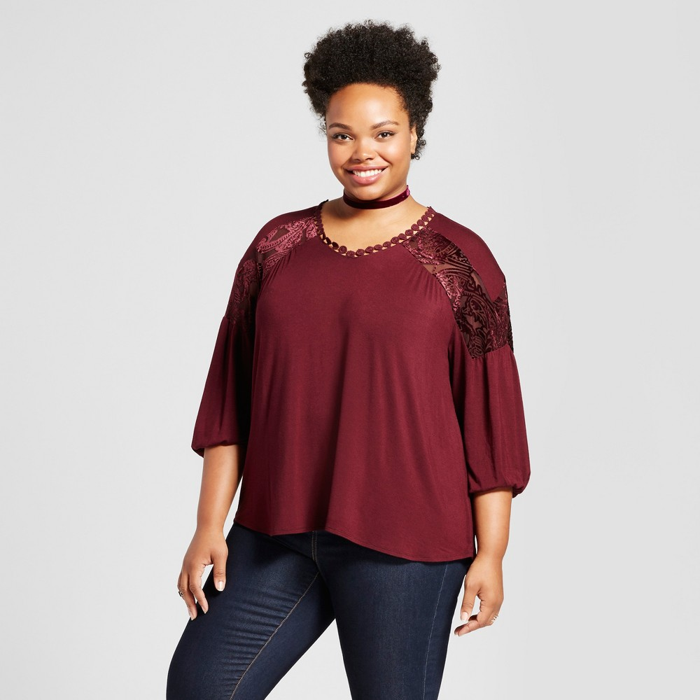 Womens Plus Size Lace Inset Blouse - JohnPaulRichard Red 1X