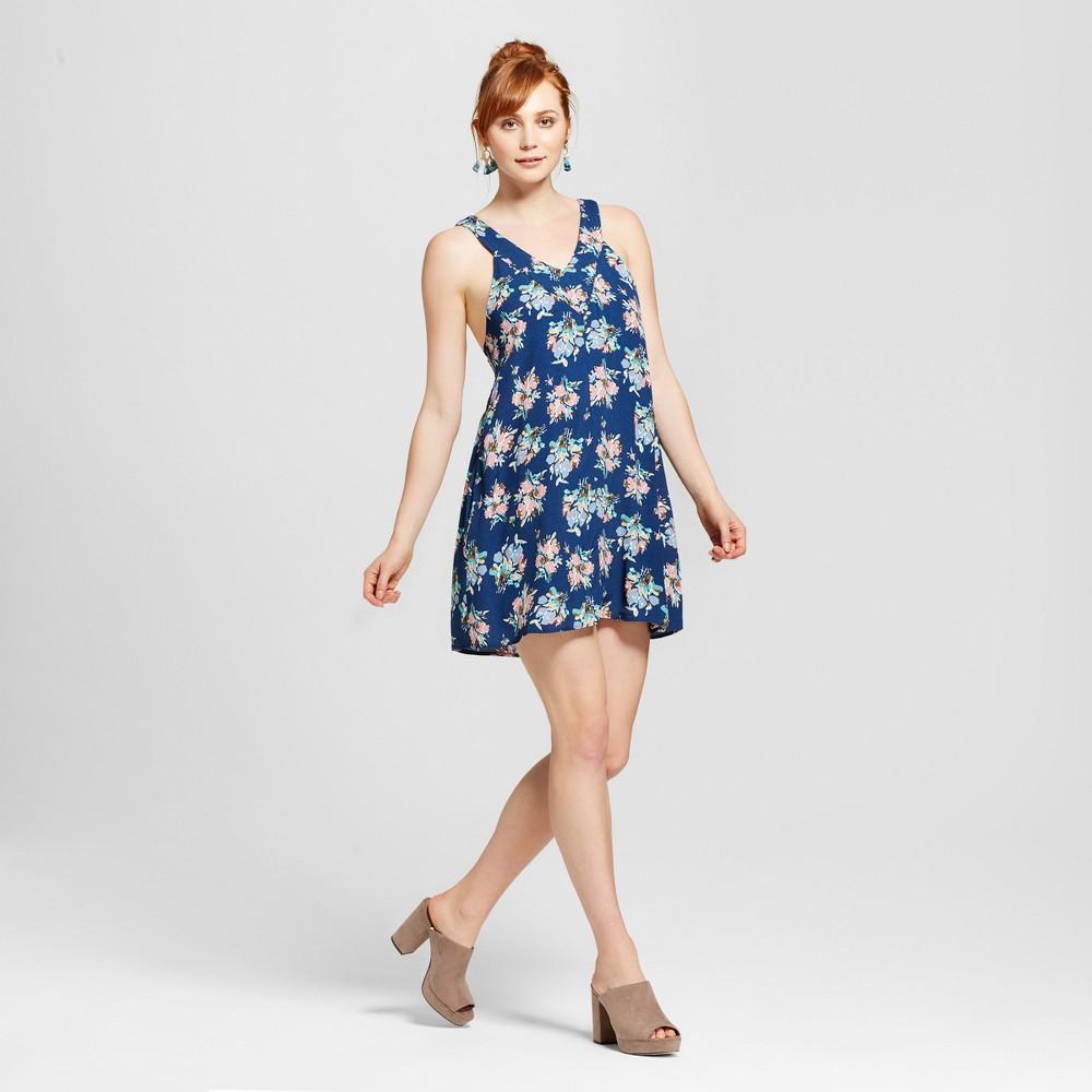 Womens Floral V-Neck Dress - Le Kate (Juniors) Navy L, Blue