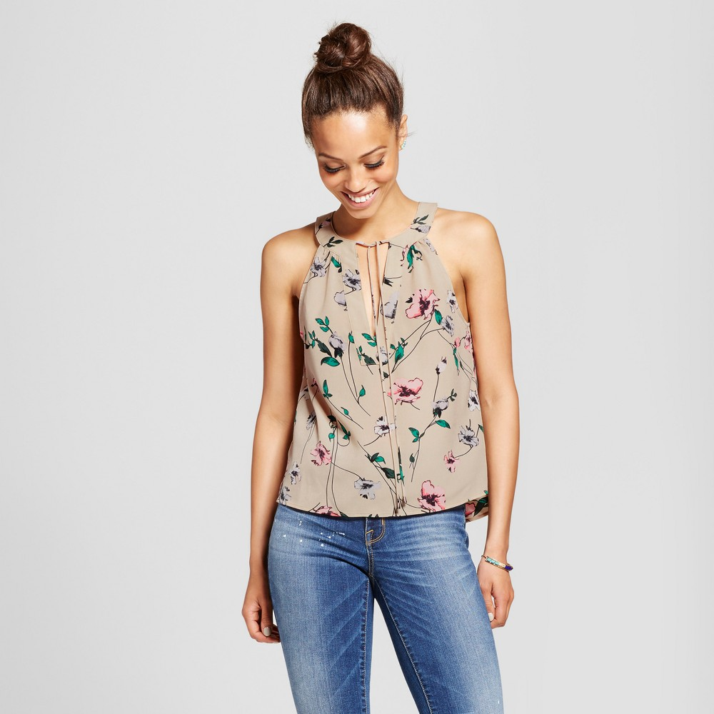 Womens Floral Tie Neck Sleeveless Top - Le Kate (Juniors) Tan M, Brown