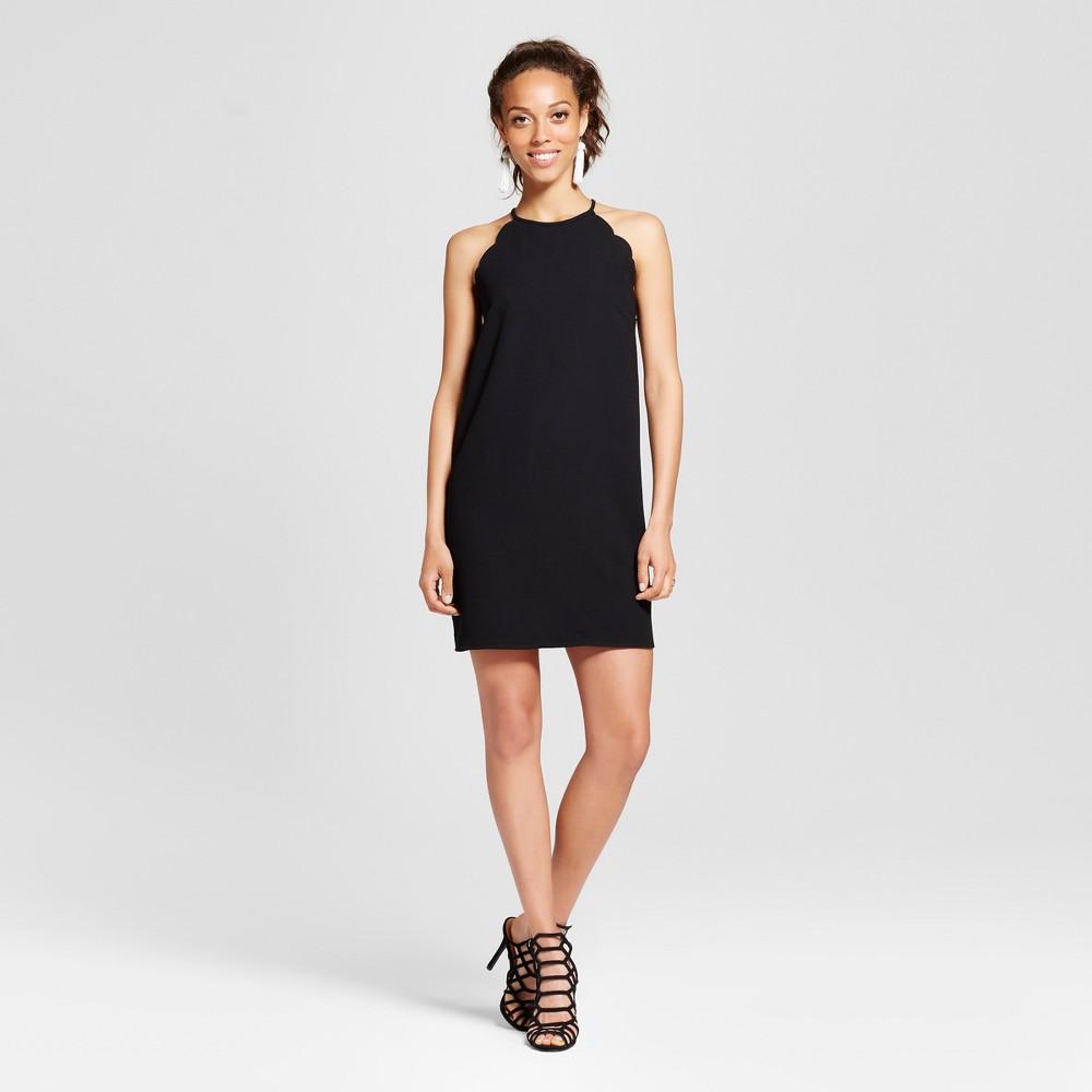 Women's Scallop High Neck Halter Dress - Le Kate (Juniors') Black M