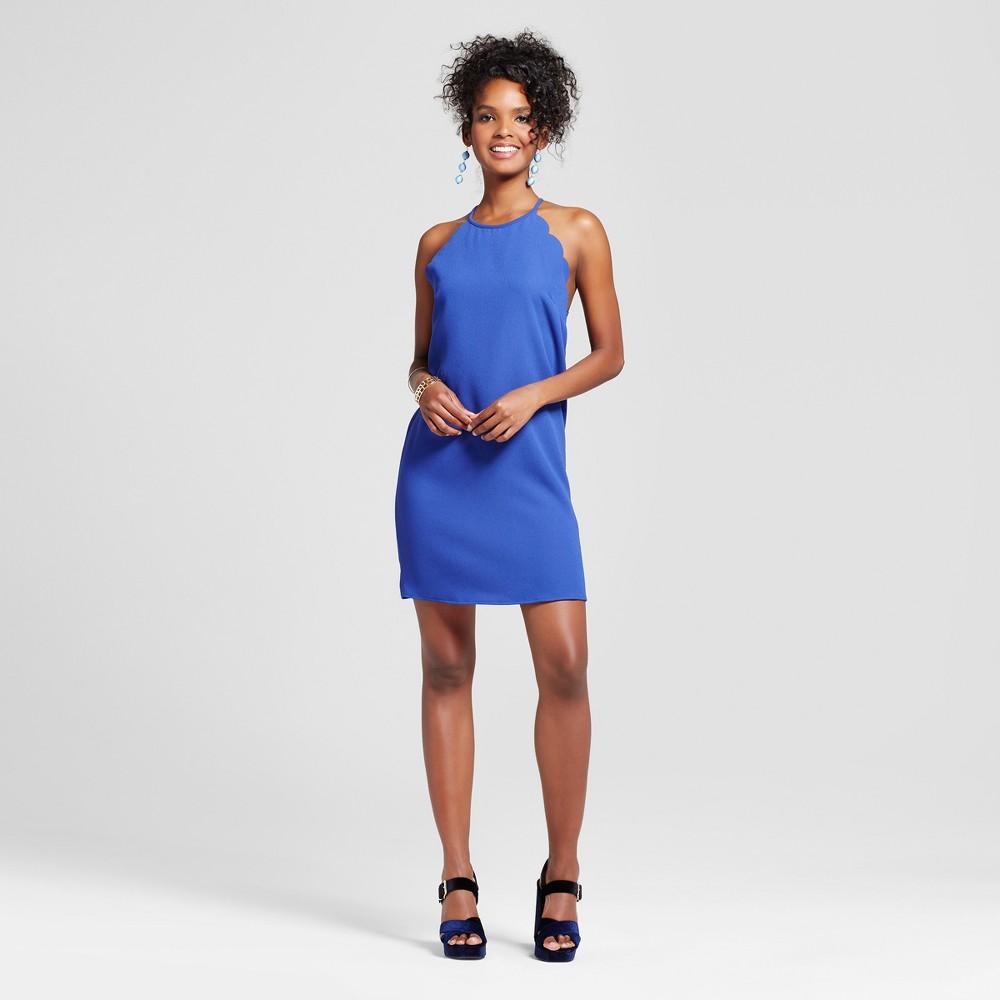 Womens Scallop High Neck Halter Dress - Le Kate (Juniors) Blue L