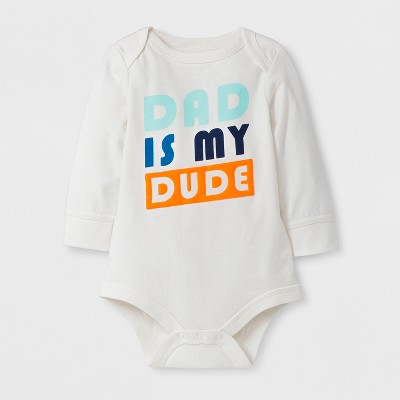 Baby Boys' 'DAD IS MY DUDE!' Long Sleeve Bodysuit - Cat & Jack™ Cream 3-6M
