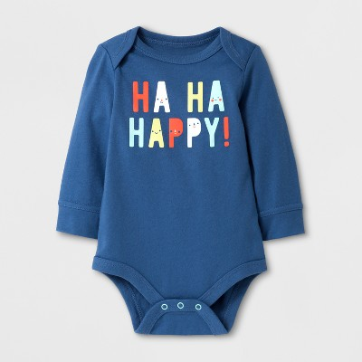 Baby Boys' 'HA HA HAPPY!' Bodysuit - Cat & Jack™ Blue NB