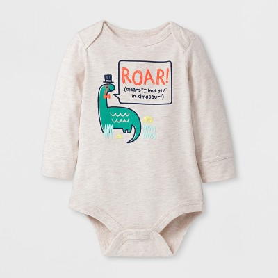 Baby Boys' 'ROAR! (means  I love you  in dinosaur)' Long Sleeve Bodysuit - Cat & Jack™ Oatmeal NB