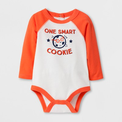 Baby Boys' 'ONE SMART COOKIE' Long Sleeve Bodysuit - Cat & Jack™ Orange/Cream 6-9M