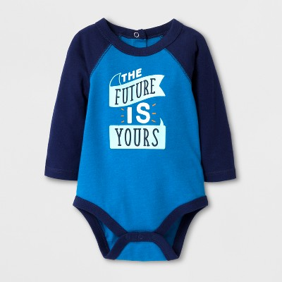 Baby Boys' 'THE FUTURE IS YOURS' Long Sleeve Bodysuit - Cat & Jack™ Turquoise/Navy 6-9M