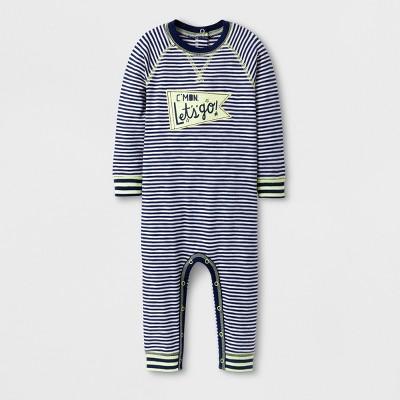 Baby Boys' C'MON Let's go!' Stripe Long Sleeve Romper - Cat & Jack™ Nightfall Blue 6-9M