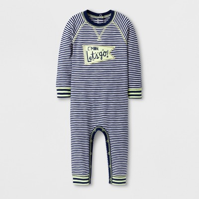 Baby Boys' C'MON Let's go!' Stripe Long Sleeve Romper - Cat & Jack™ Nightfall Blue 0-3M