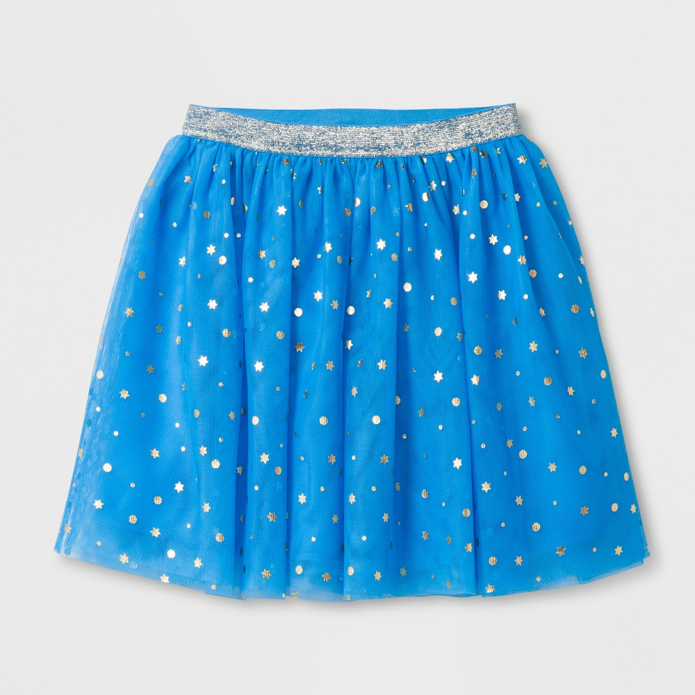 Girls' Hanukkah Shine Print Tutu Skirts - Cat & Jack Blue L Find Skirts at Target.com! She'll love to celebrate Hanukkah traditions with you in the Hanukkah Shine Print Tutu Skirt from Cat and Jack. This bright blue skirt is covered with silver dots and Stars of David to let her shine. She can pair with a ruffled shirt, tight and ballet flats for a sweet outfit that's ready to celebrate. Size: L. Gender: Female. Age Group: Kids. Pattern: Star. Material: Polyester.