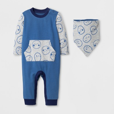 Baby Boys' Long Sleeve Romper with Kangaroo Pocket and Bib - Cat & Jack™ Shallow Blue 6-9M