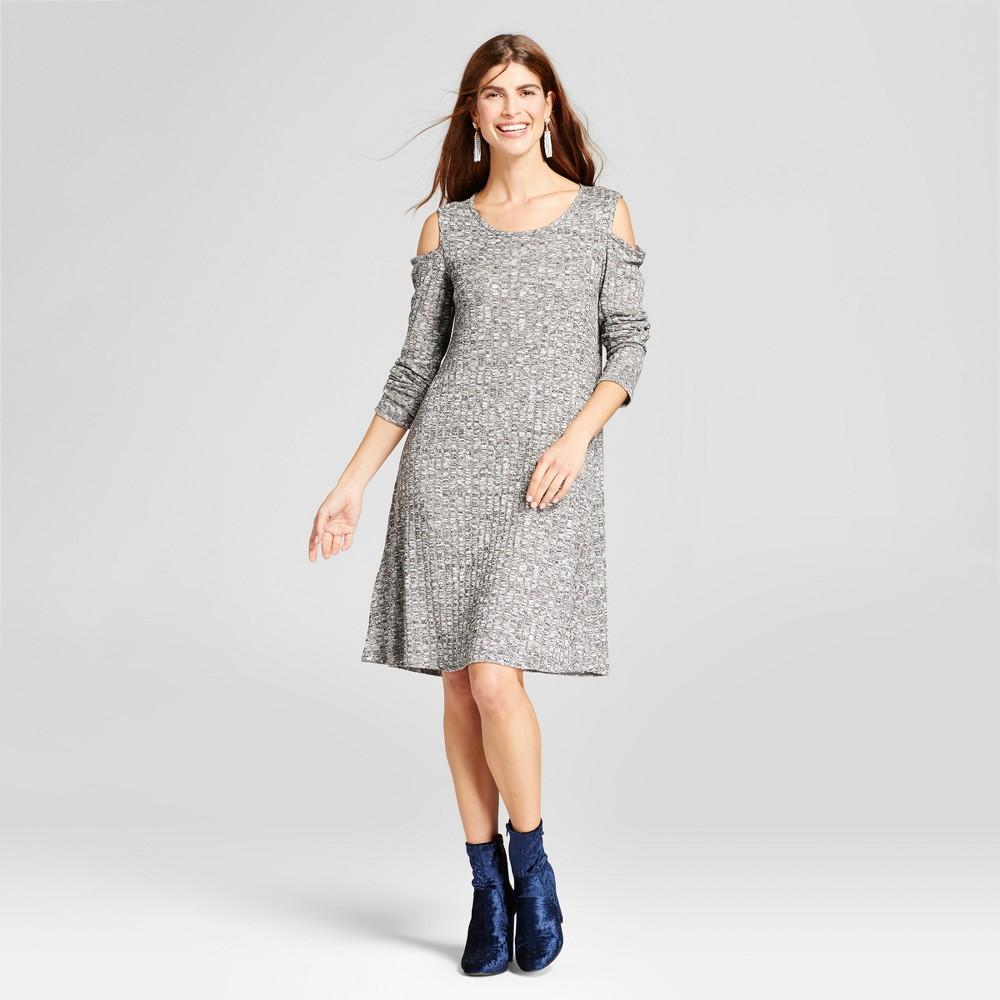 Womens Ribbed Cold Shoulder Knit Dress - Como Black/White XL