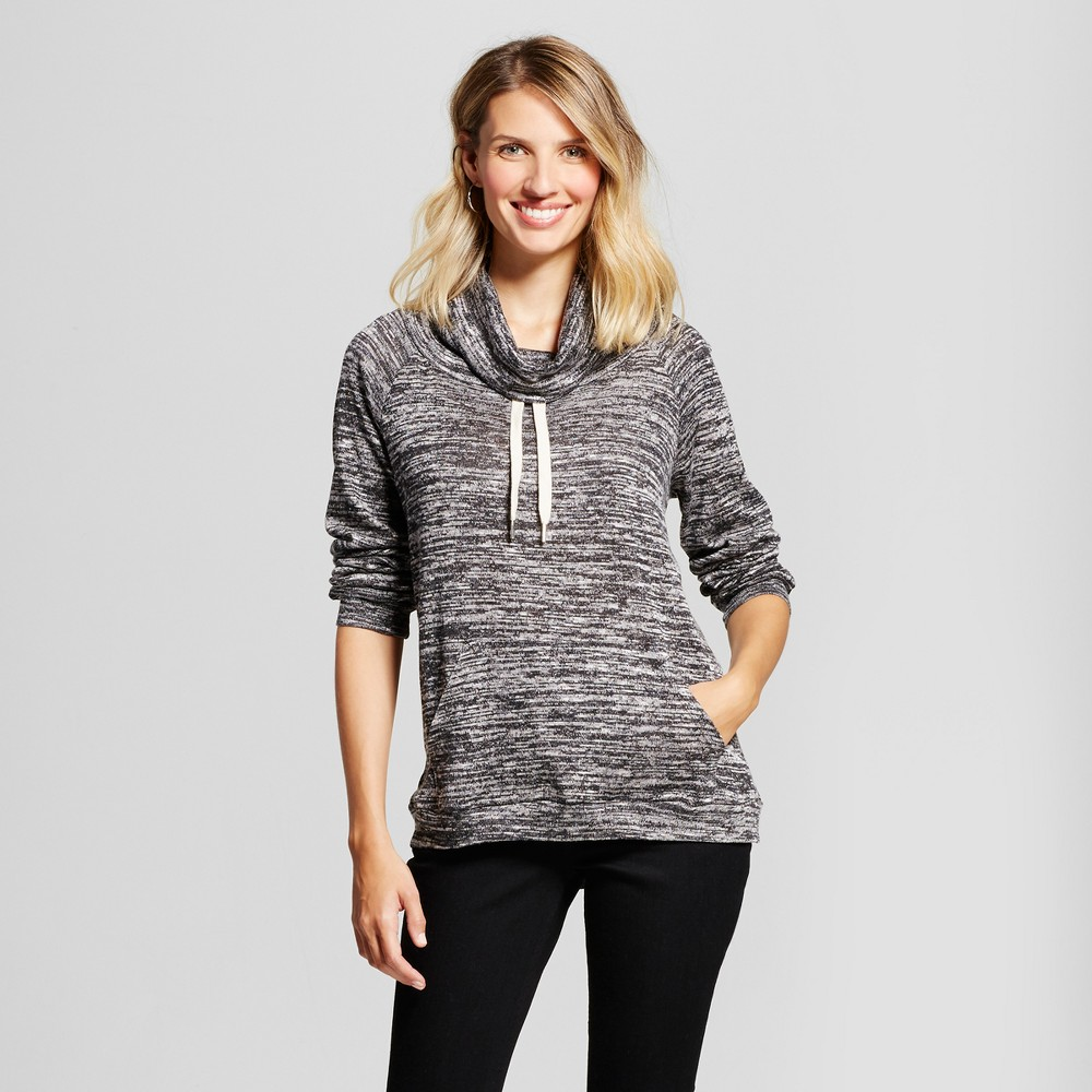 Womens Cowl Neck Pullover with Front Pocket - Como Black/White M