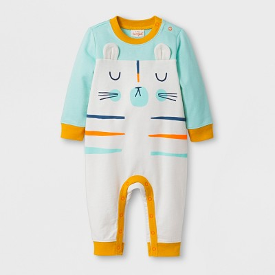 Baby Boys' Cat Face Stripe Long Sleeve Romper - Cat & Jack™ Almond Cream NB