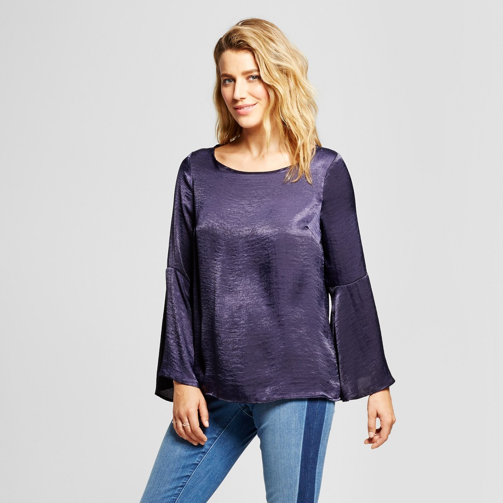 Womens Woven Blouse with Bell Sleeve - Como Black Navy M, Blue