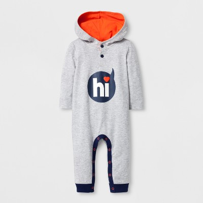 Baby Boys' Hooded Long Sleeve Hi Romper - Cat & Jack™ Gray 0-3M