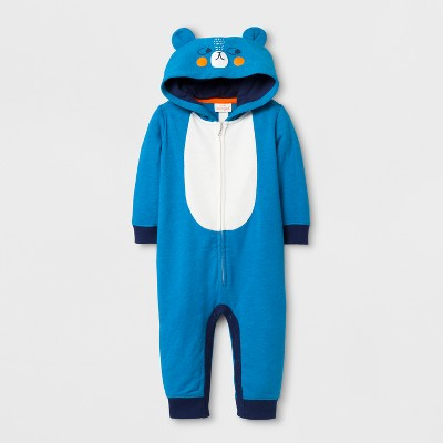 Baby Boys' Bear Hooded Long Sleeve Romper with Ears on Hood - Cat & Jack™ Turquoise NB