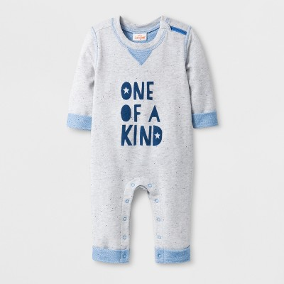 Baby Boys' 'ONE OF A KIND' Long Sleeve Romper - Cat & Jack™ Oatmeal/Blue 3-6M