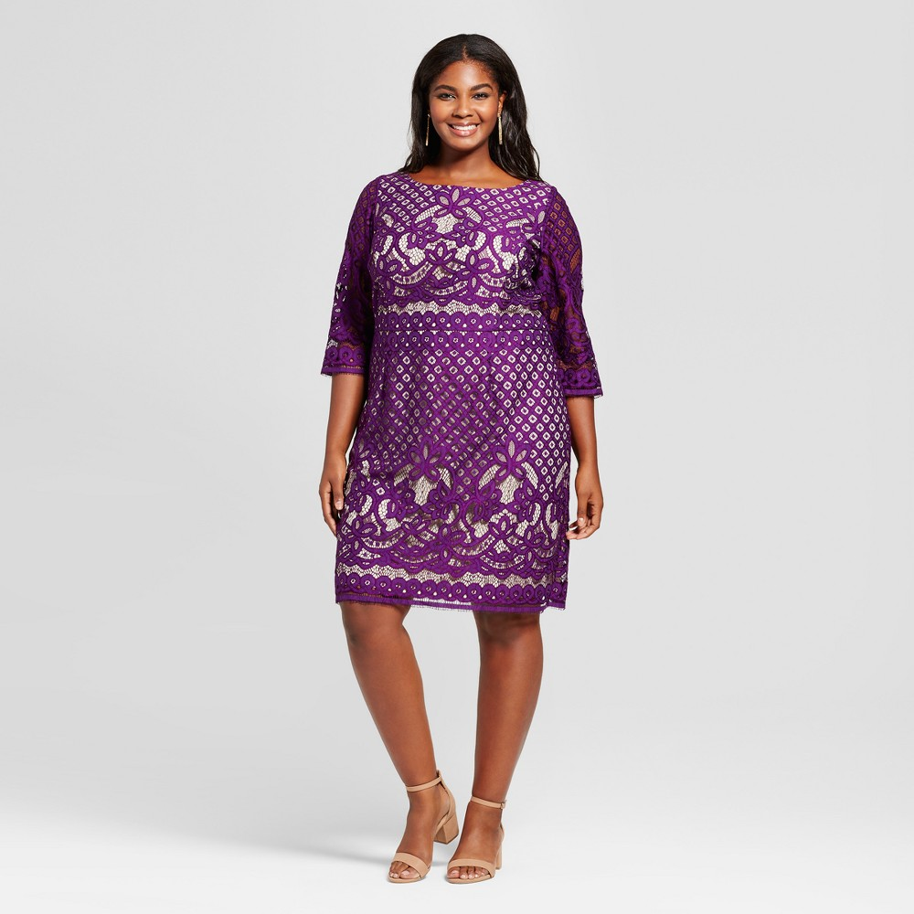 Womens Plus Size 3/4 Sleeve Lace Sheath Dress - Melonie T Purple 22W