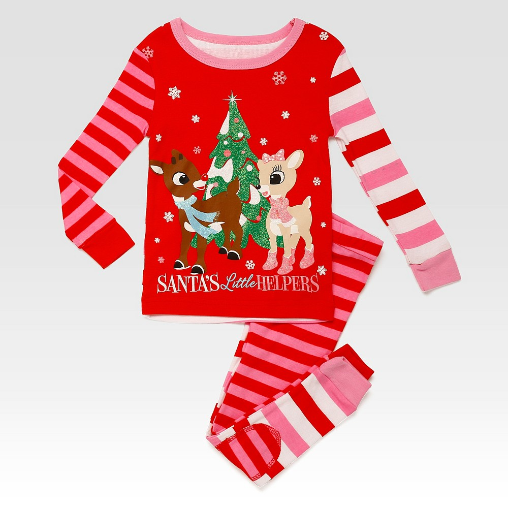 Rashti & Rashti Rudolph the Red-Nosed Reindeer Toddler Girls 2pc Santas Little Helpers Pajama Set - Pink 2T, Red