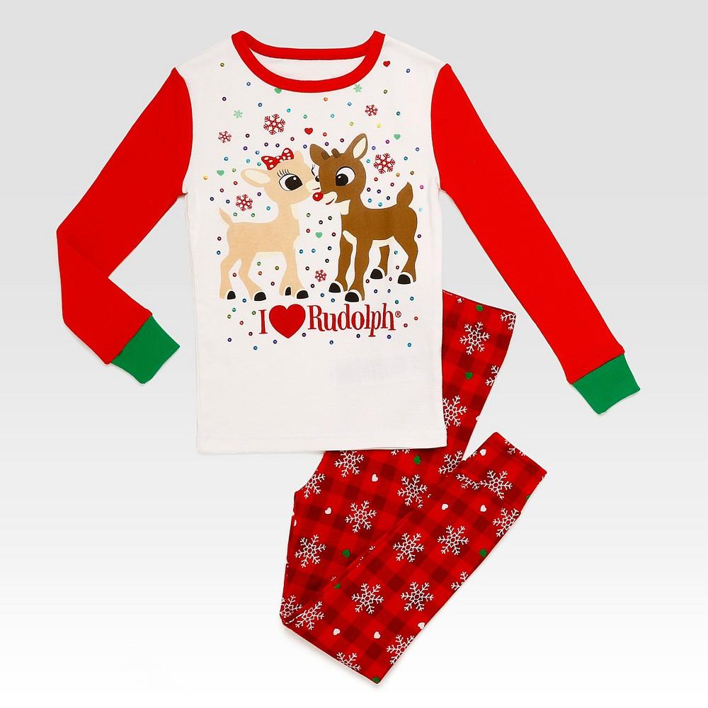Rashti & Rashti Rudolph the Red-Nosed Reindeer Baby Girls 2pc I Heart Rudolph Pajama Set - White/Red 18M