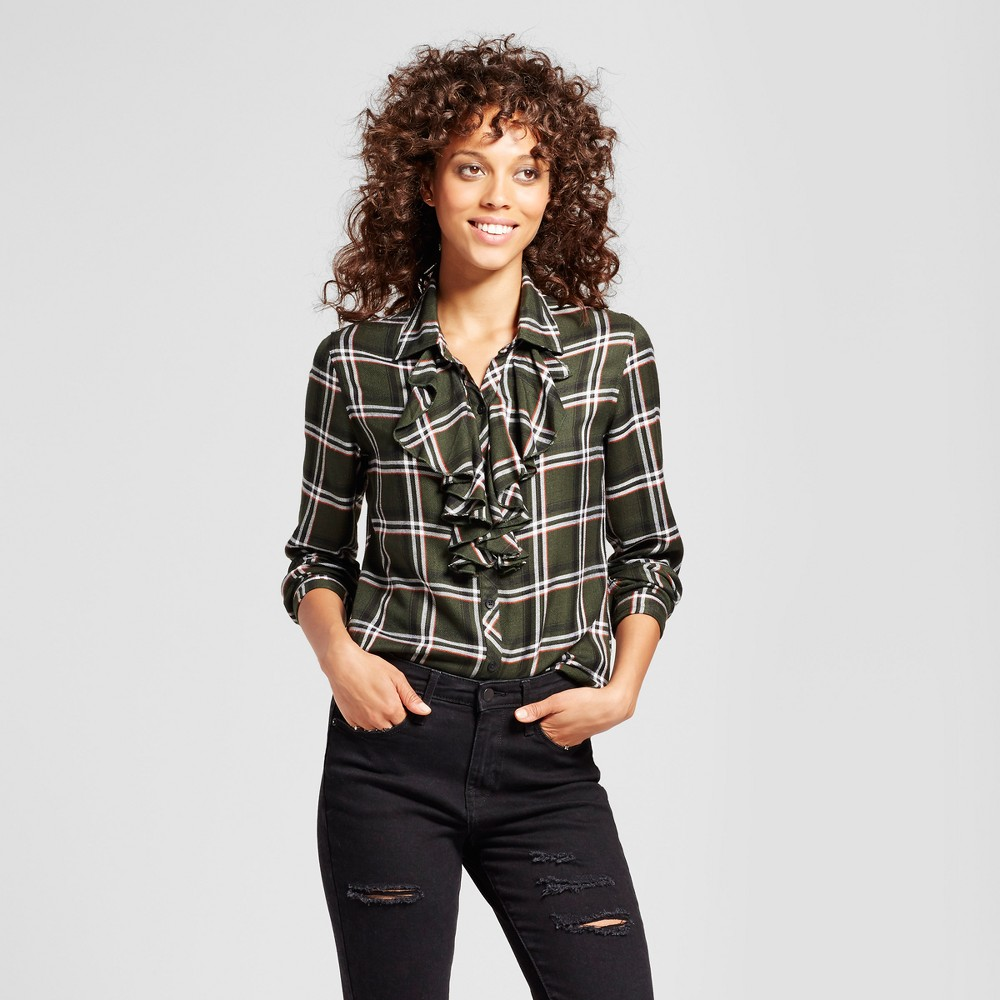Womens Plaid Ruffle Front Button Up Top - Alison Andrews Olive/Black M, Multicolored