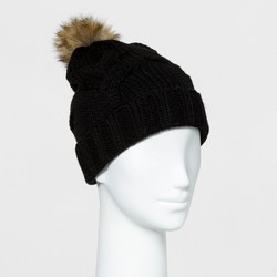Women's Cable Knit Faux Fur Pom Beanie - A New Day™