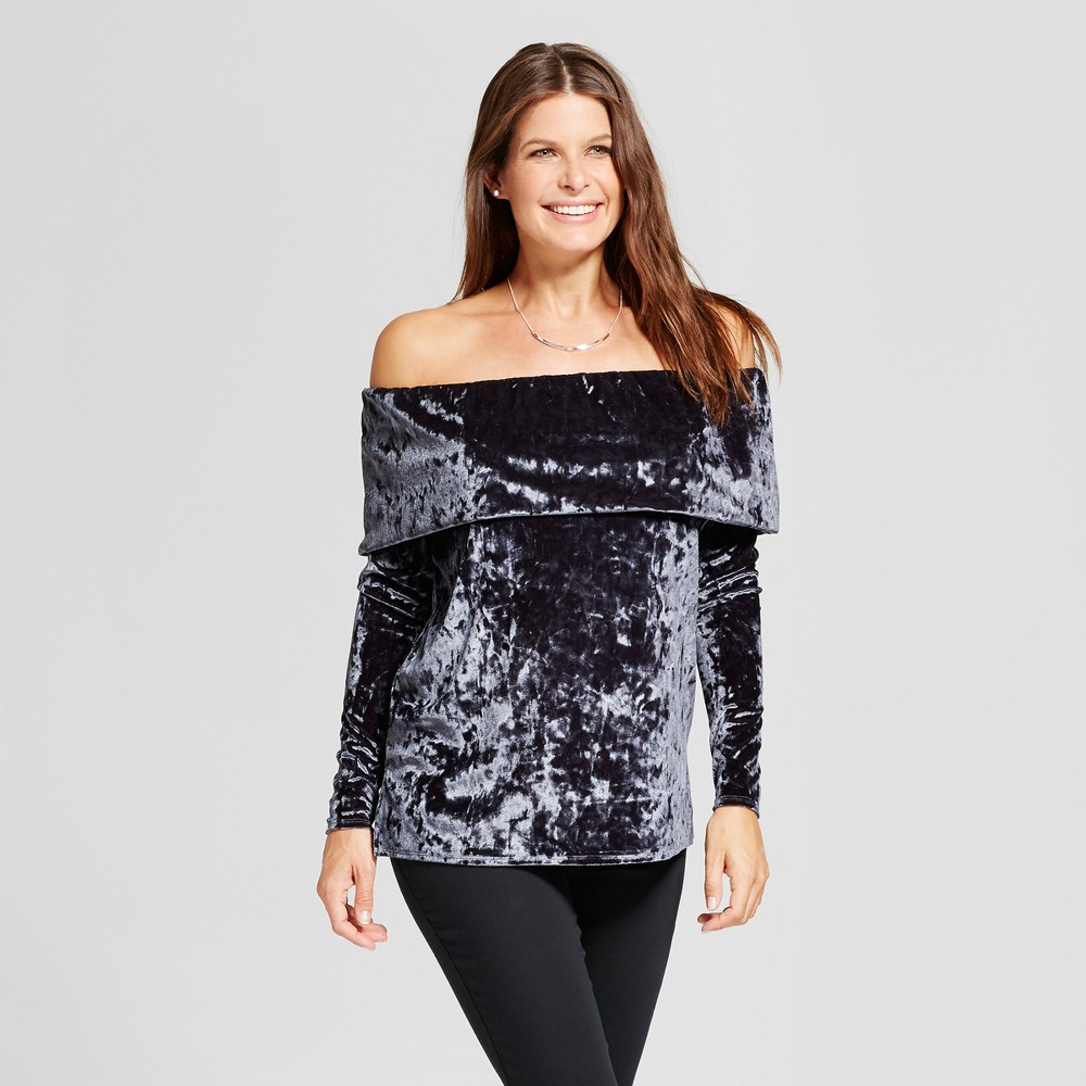 Maternity Velvet Off the Shoulder Top - Fynn & Rose Slate Gray L, Womens