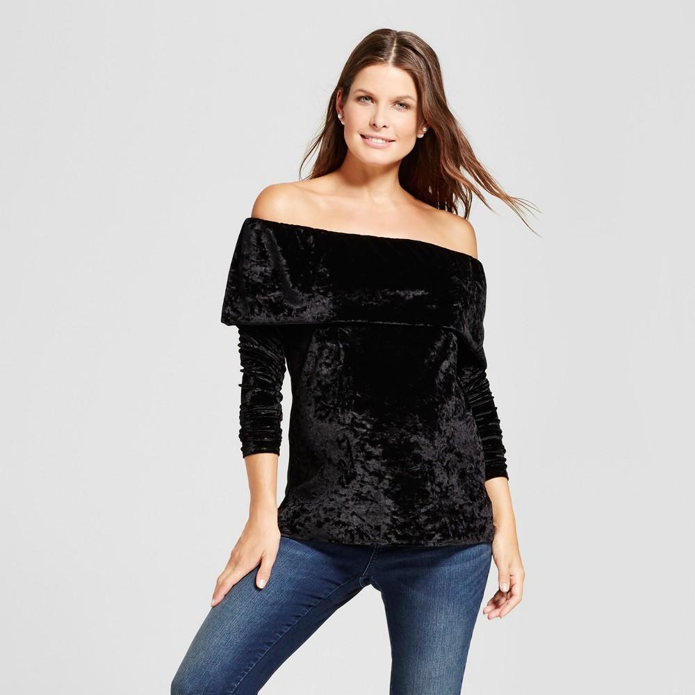 Maternity Velvet Off the Shoulder Top - Fynn & Rose Black S, Womens