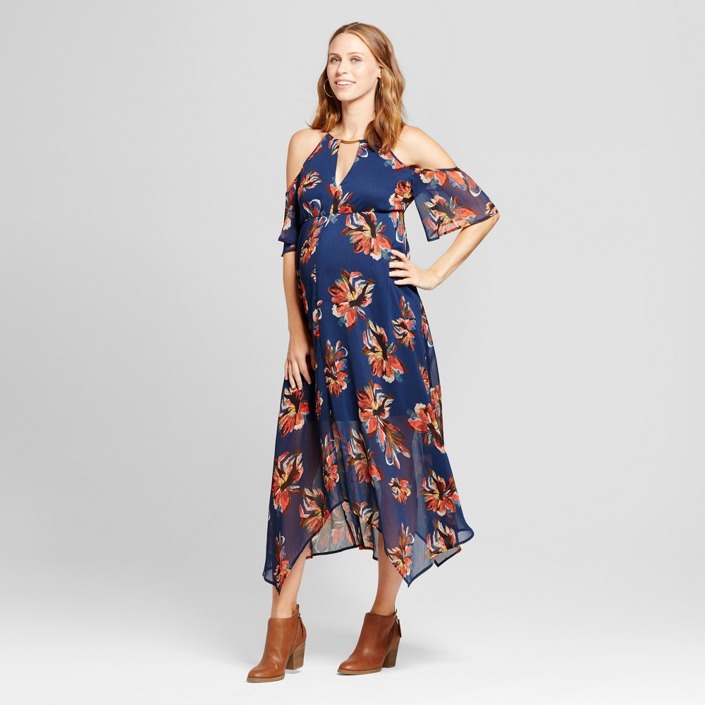 Maternity Floral Hanky Hem Dress Navy L - Fynn And Rose, Womens, Blue