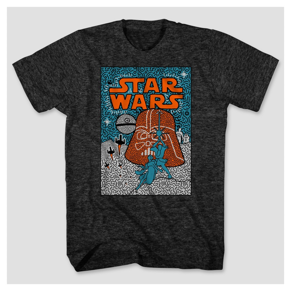 Mens Star Wars Art Inspired Movie Poster T-Shirt - Charcoal M, Green