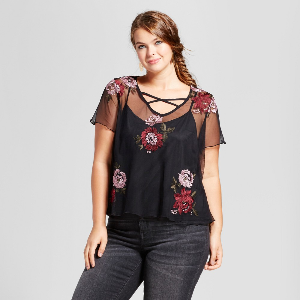 Womens Plus Size Mesh Embroidered Top - Xhilaration Black Floral 2X