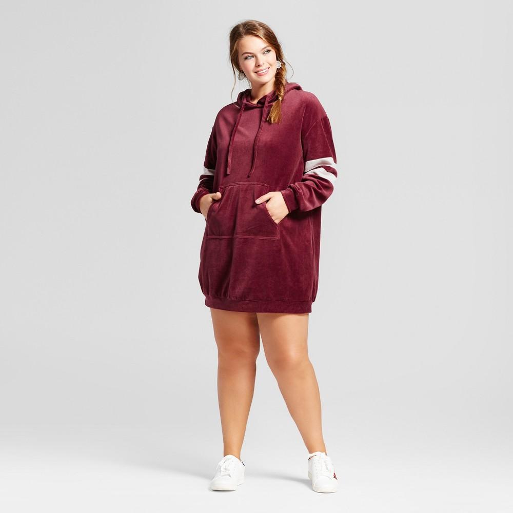 Womens Plus Size Velour Sweatshirt Dress - Xhilaration Burgundy (Red) 1X