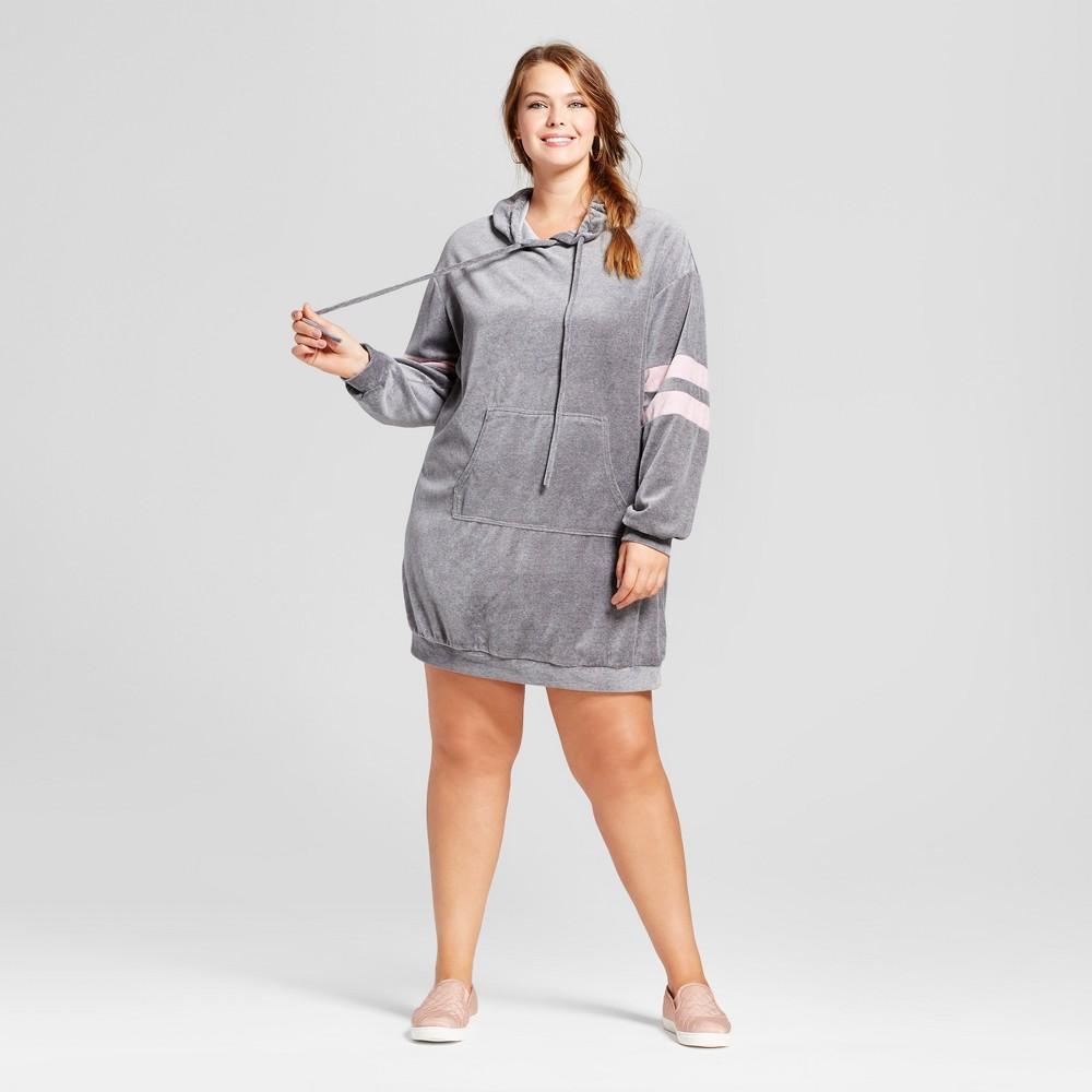 Womens Plus Size Velour Sweatshirt Dress - Xhilaration Gray 1X