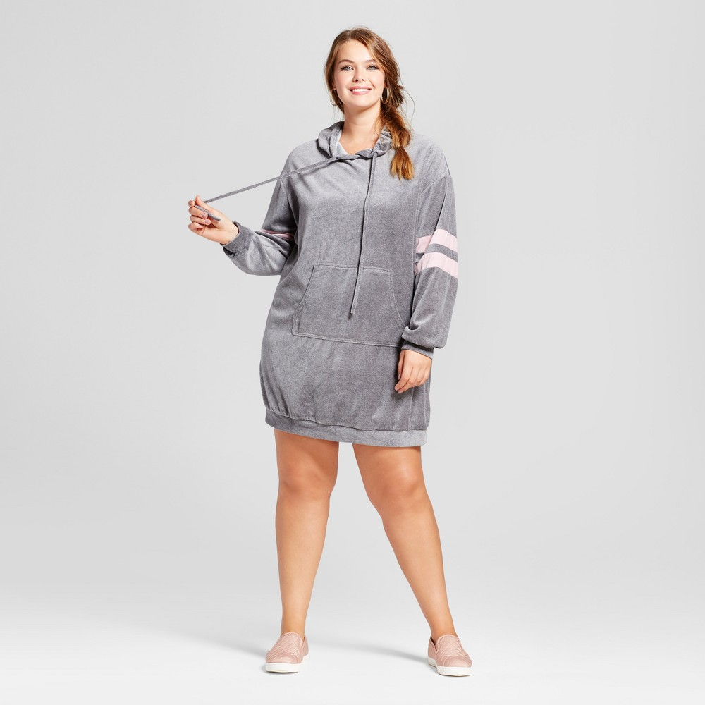 Womens Plus Size Velour Sweatshirt Dress - Xhilaration Gray 2X