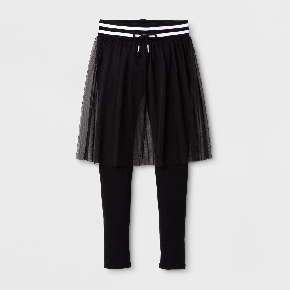Girls' Mesh Skirted Leggings - art class Black L
