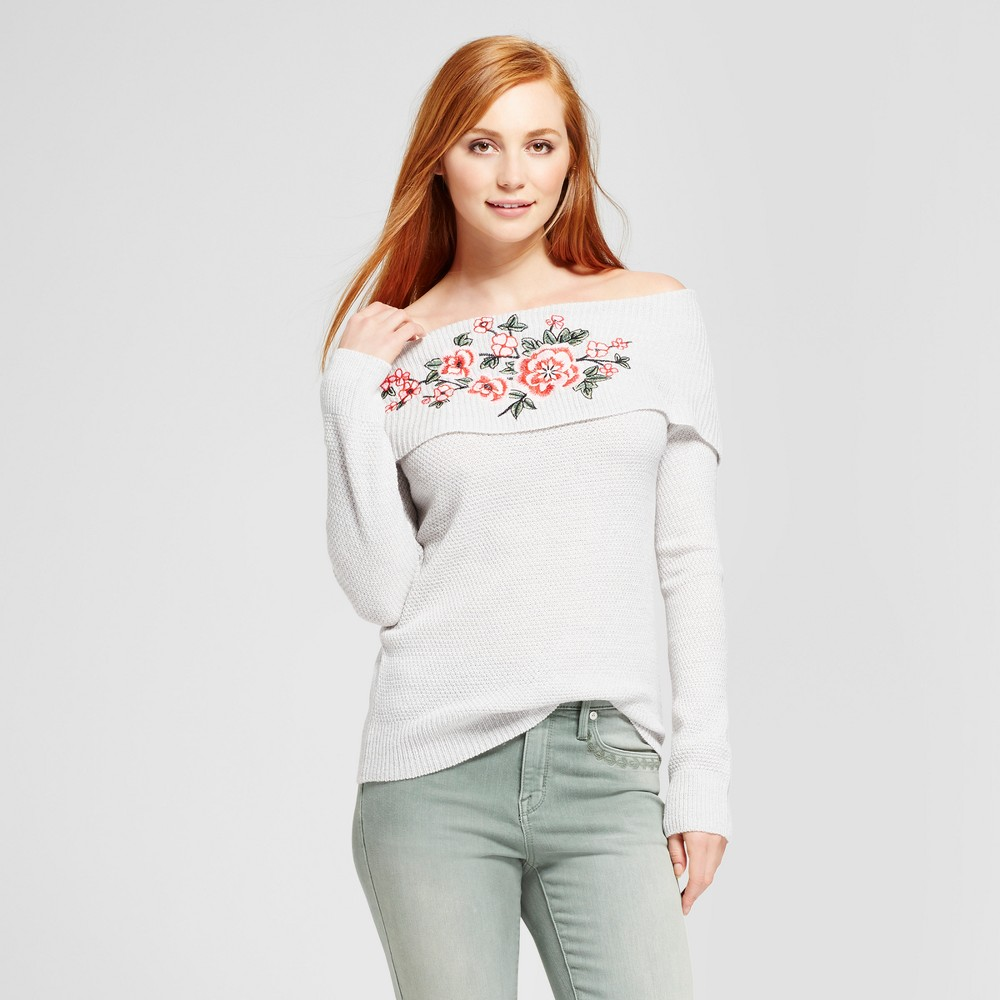Womens Embroidered Bardot Pullover Sweater - Alison Andrews Light Gray L