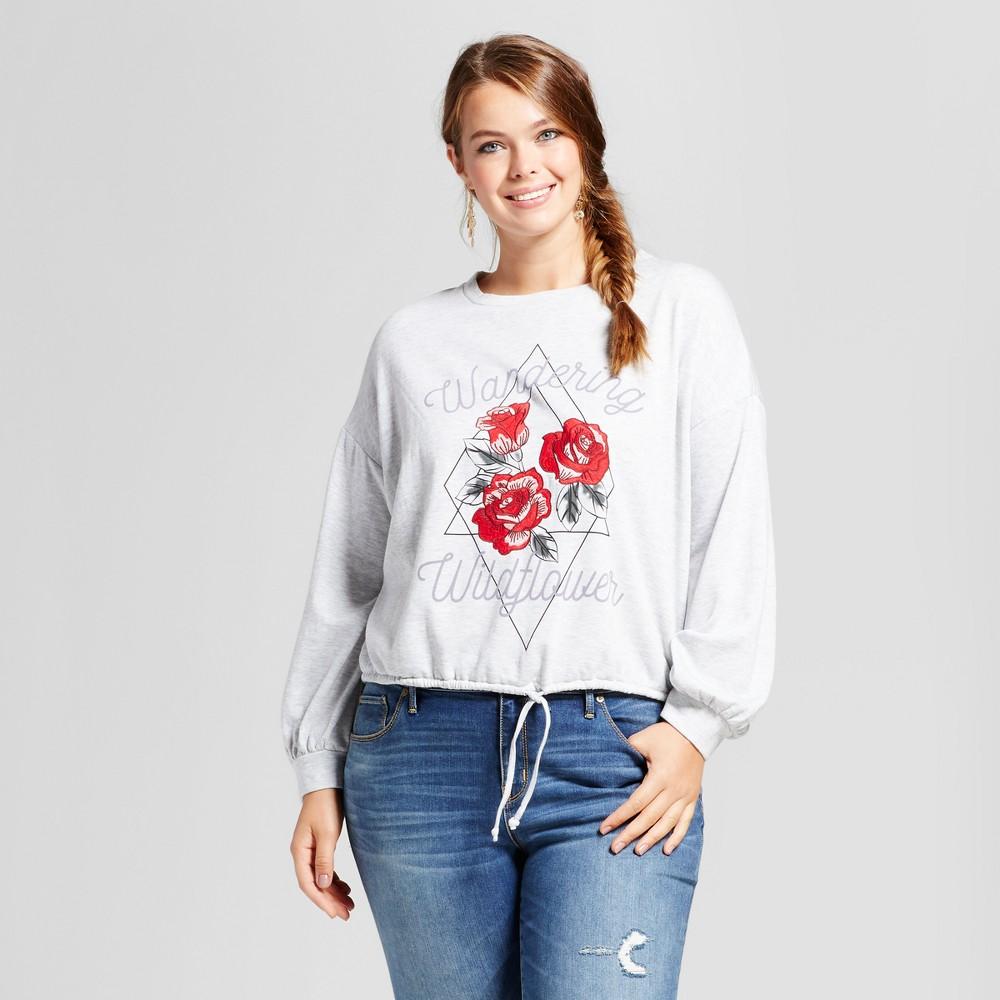 Womens Plus Size Cropped Sweatshirt - Xhilaration Heather Gray X