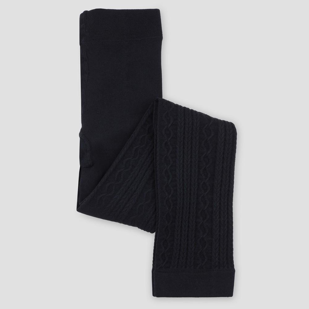 Girls Fleece-Lined Full Length Leggings - Cat & Jack Black 4-6x, Size: Small