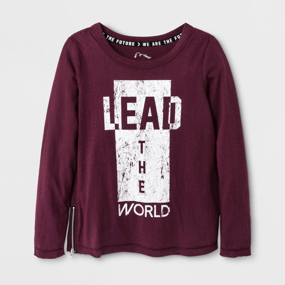 Girls' Lead the World Long Sleeve Graphic T-Shirt - Art Class Autumn Purple L